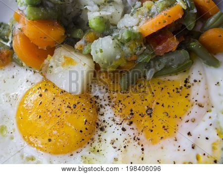 LASTRA A SIGNA, ITALY - JULY 10 2015: vegetarian meal with fried eggs and a side-dish of vegetables