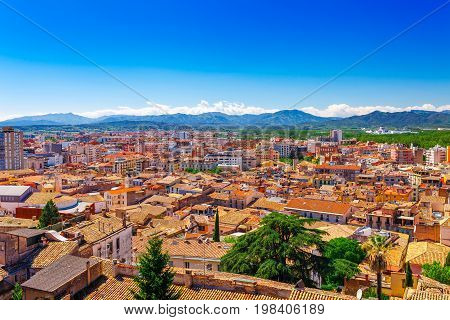 Top Aerial View On Girona, Catalonia, Spain. Scenic And Colorful Ancient Town. Famous Tourist Resort