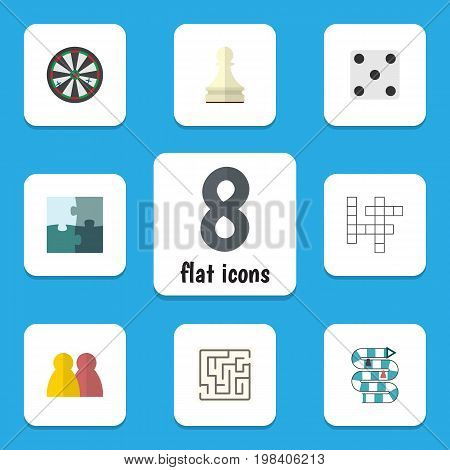 Flat Icon Games Set Of Labyrinth, Arrow, People And Other Vector Objects