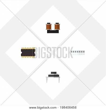 Flat Icon Appliance Set Of Memory, Microprocessor, Coil Copper And Other Vector Objects