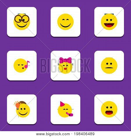 Flat Icon Gesture Set Of Party Time Emoticon, Pleasant, Wonder And Other Vector Objects