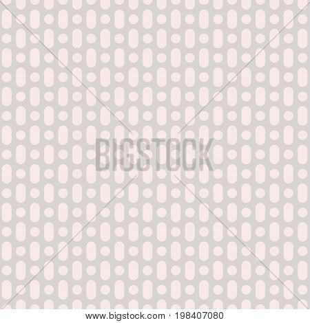 Vector seamless pattern with rounded shapes, circles, lines. Simple geometric background in soft pastel colors pink & light gray. Modern texture for decor, textile, invitations, children, apparel.