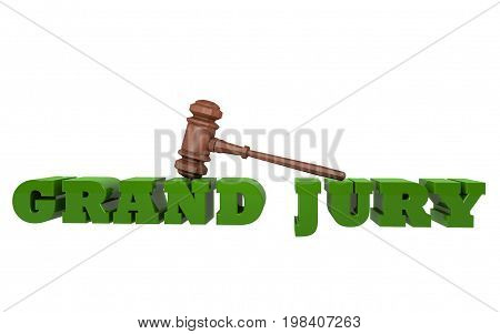 The words GRAND JURY illustration in 3D with a gavel