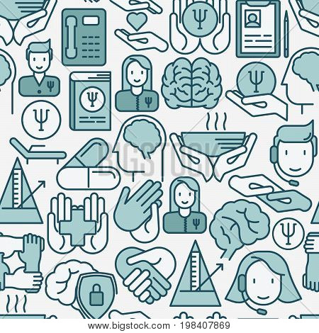 Psychological help seamless pattern with thin line icons. Vector illustration for web page, banner, print media.