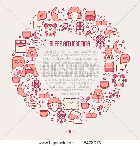 Sleep and insomnia concept circle with thin line icons: man in sleeping mask, comfortable pillow, alarm, aroma lamp, earplugs, sheep. Vector illustration for banner, web page, print media.