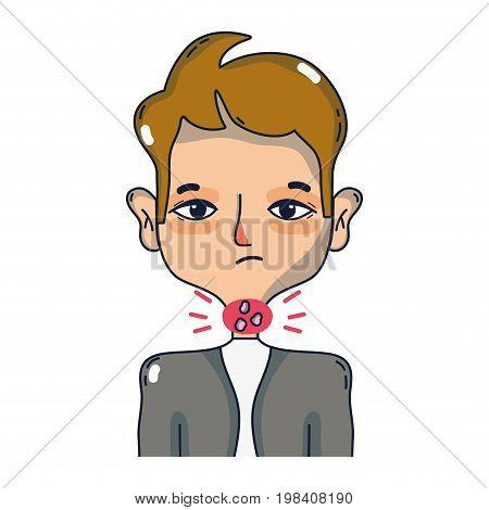 man with sore throat sickness virus vector illustration