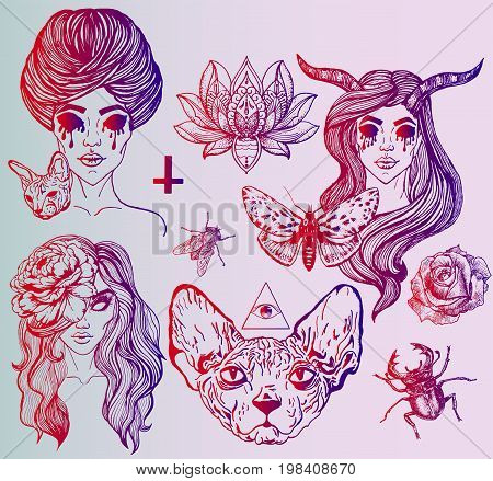 A large set of art tattoo - gothic style. Ideas for a poster on Halloween. Creative portraits of girls. Disturbing Sphinx, unusual flowers and insects