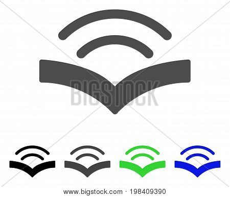 Audiobook flat vector pictogram. Colored audiobook, gray, black, blue, green icon variants. Flat icon style for web design.