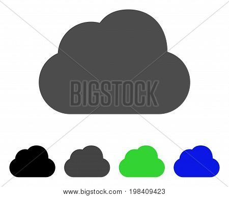 Cloud flat vector pictogram. Colored cloud, gray, black, blue, green icon variants. Flat icon style for application design.