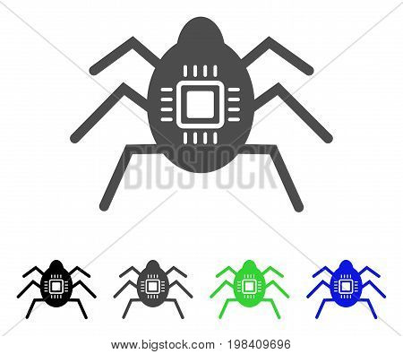 Hardware Bug flat vector pictograph. Colored hardware bug, gray, black, blue, green icon variants. Flat icon style for web design.