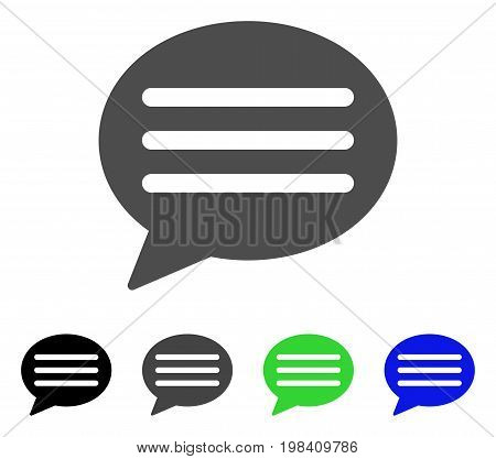 Message Cloud flat vector icon. Colored message cloud, gray, black, blue, green pictogram versions. Flat icon style for web design.