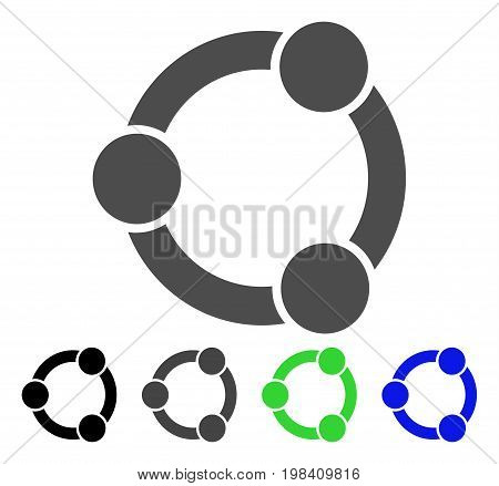 Network Relations flat vector illustration. Colored network relations, gray, black, blue, green pictogram variants. Flat icon style for graphic design.