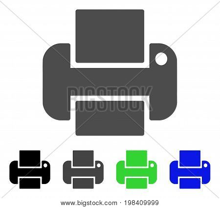 Printer flat vector icon. Colored printer, gray, black, blue, green icon versions. Flat icon style for application design.