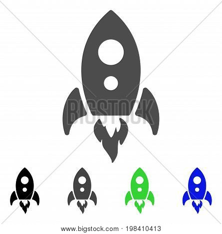 Startup Rocket flat vector icon. Colored startup rocket, gray, black, blue, green icon variants. Flat icon style for graphic design.