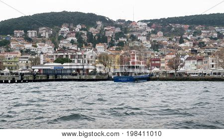 Istanbul Turkey - March 3 2013: View of Heybeliada island from the sea with summer houses. The second largest one of four islands named Princes' Islands in the Sea of Marmara near Istanbul