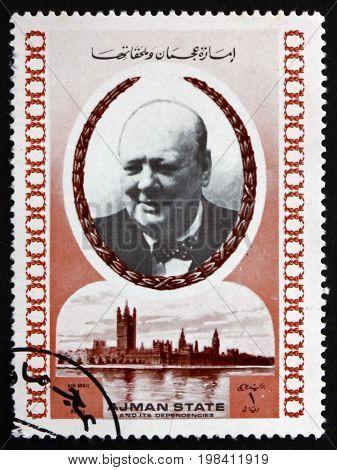 AJMAN - CIRCA 1972: a stamp printed in Ajman shows Winston Churchill British Politician Twice Prime Minister of the United Kingdom circa 1972
