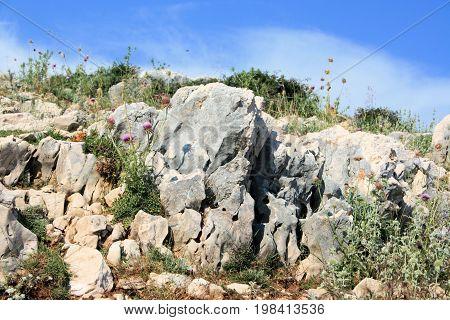 rocks on the way to Veli and Mala Luka, Baska, island Krk, Croatia