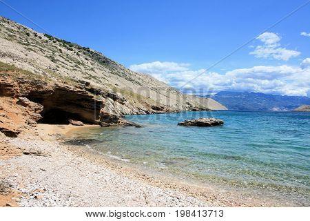 sandstone, beach of  Mala Luka near Baska, island Krk, Croatia