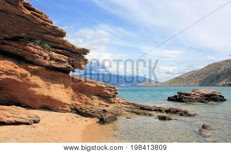 beach of Mala Luka, Baska, island Krk, Croatia