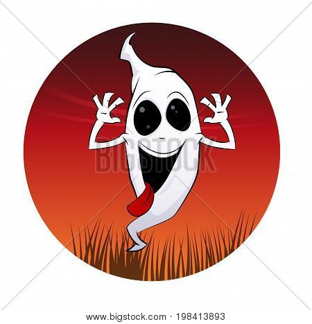 Fun cartoon ghost. Halloween style vector illustration