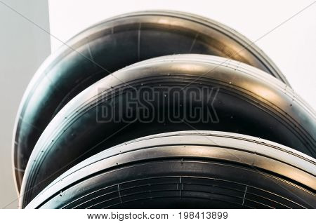 Wheels Rubber Tire For Aircraft Exhibited In Series