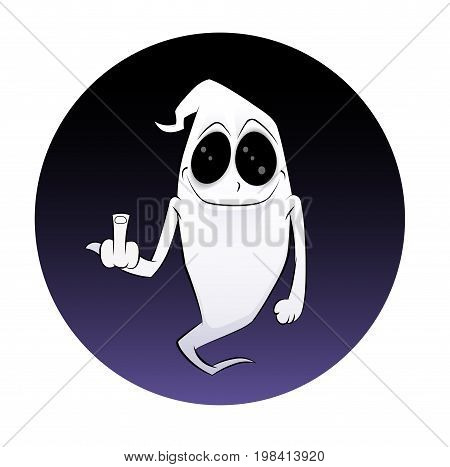 Fun cartoon ghost showing finger. Halloween style vector illustration