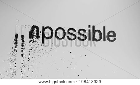 impossible 3d rendering to possible concept on white background