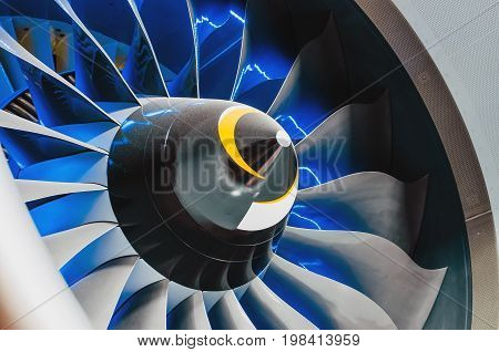Airplane Engine And Blades With Blue Backlight Close Up