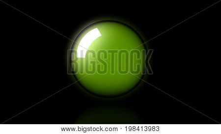 3D Rendering Of Big Green Neon Glass Sphere With Transparent Glares