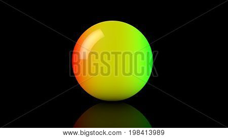 3D Rendering Of Big Rainbow Neon Glass Sphere With Transparent Glares