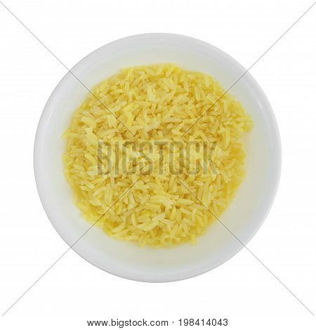 Top view of a portion of pilau rice in a bowl isolated on a white background.