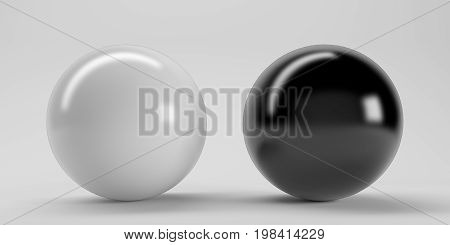 Big White And Black Glasses Sphere With Transparent Glares And Highlights On White Background. White