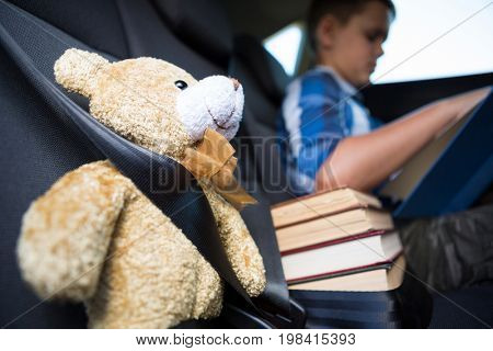 Teenage boy reading book in the back seat of car