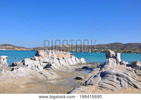 Rocky beautiful stone formation on Kolimbithres beach on Paros island