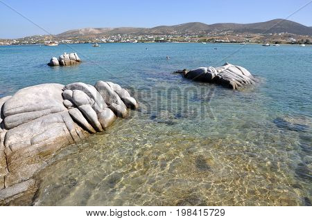Detail of Kolimbithres beach on the cyclades Paros island in Greece