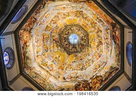 Florence, Italy - July, 16, 2017: painting on a cupola of Santa Maria del Fiore cathedral in Florence, Italy