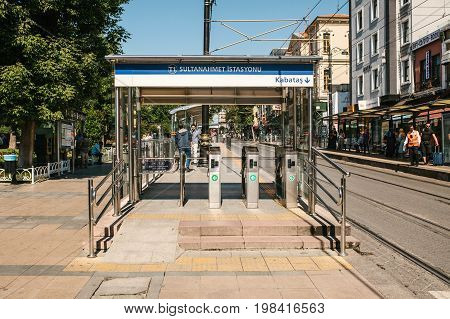 Editorial image of Sultanahmet urban overground metro turnstile entrance to the station in Istanbul, Turkey on June 15, 2017.