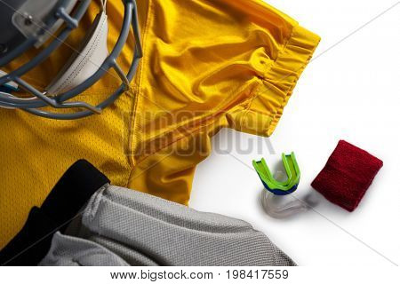 High angle view of sports clothing by wristband
