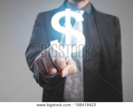Businessman hand push American dollar currency symbol on internet and mobile application on visual screen, financial concept