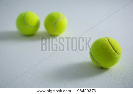 Close up of fluorescent yellow balls on white background