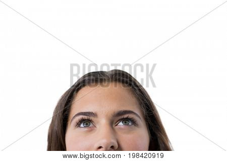 Thoughtful woman against white background