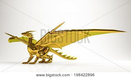 Golden 3D Rendering Of A Dragon Isolated On White