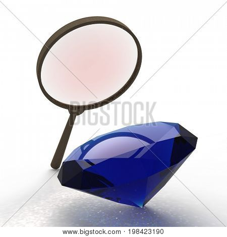 Magnifying glass. Exploring the gems 3d rendering