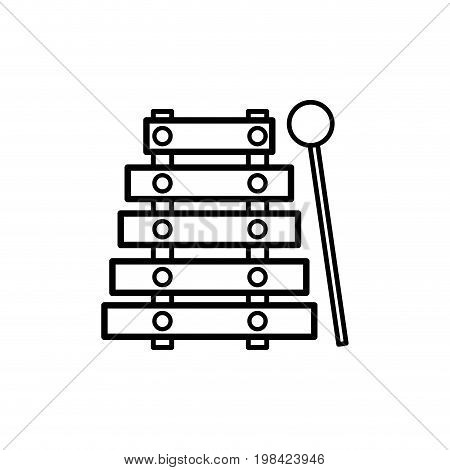 line marimba music instrument to melody harmony vector illustration
