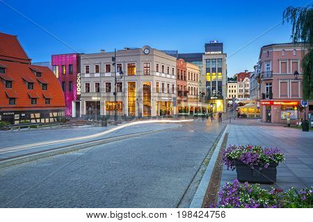 BYDGOSZCZ, POLAND - AUGUST 1, 2017: Architecture of Bydgoszcz city at dusk, Poland. Bydgoszcz is the eighth-largest city in Poland with beautiful neo-gothic and neo-baroque architecture.