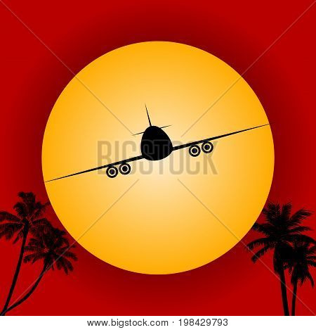 Airplane Silhouette Flying Over Big Yellow Sun and Palm Tees Over Red Background