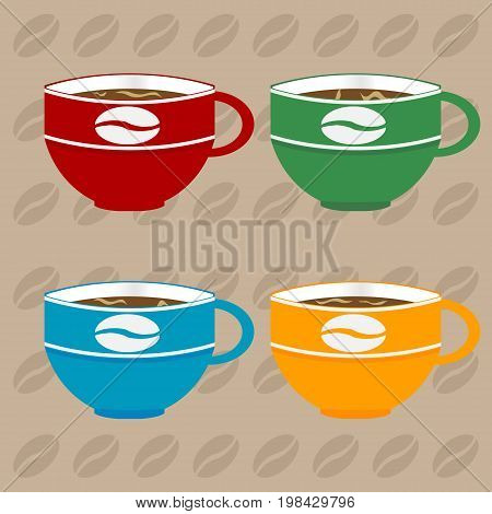 Four Decorated Coffee Cups in Different Colours Over Light Brown Background with Coffee Beans