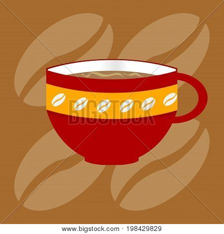 Red Decorated Coffee Cup with Beans Over Brown Background with Coffee Beans