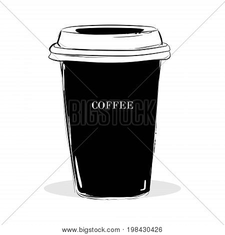 Hand Drawn Illustration Logos. Black Cup With Letters Coffee. Cup Of Coffee. T-shirt Print, Shop Dec