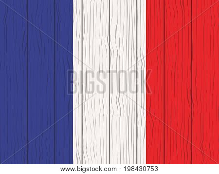 flag of France painted on a wooden wall